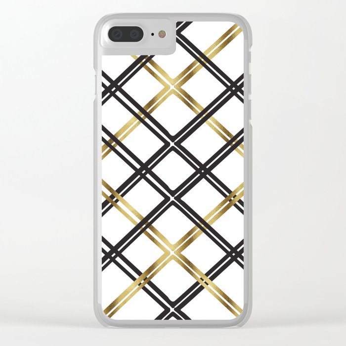 Crosshatch in Gold Clear iPhone Case