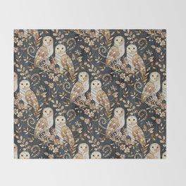 Wooden Wonderland Barn Owl Collage Throw Blanket