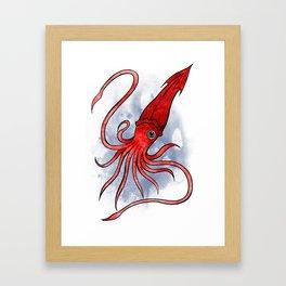 Underwater Animals - Squid Print Framed Art Print