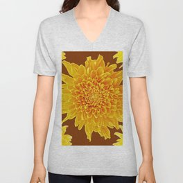Coffee Brown Color Golden Yellow Chrysanthemums Unisex V-Neck