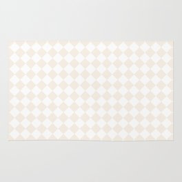 Small Diamonds - White and Linen Rug
