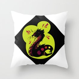 African Civet (Civettictis civetta) Watermelon/Lime Palette Throw Pillow