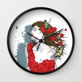 Woman in Dress from Gibiscus Flowers and Butterflies Wall Clock