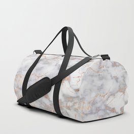 Gray Marble Rosegold  Glitter Pink Metallic Foil Style Duffle Bag