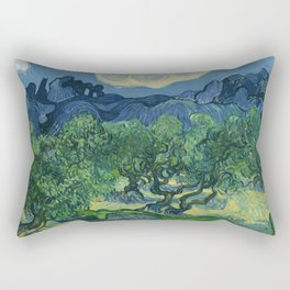 Olive Trees with the Alpilles in the Background by Vincent van Gogh (June 1889) Rectangular Pillow