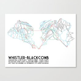 Whistler Blackcomb, BC, Canada - Minimalist Trail Map Canvas Print