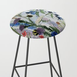 Wildflower in Garden Watercolor Flower Illustration Painting Bar Stool