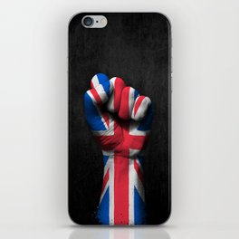 Union Jack Flag of The United Kingdom on a Raised Clenched Fist iPhone Skin
