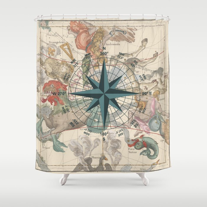 Compass Graphic With An Ancient Constellation Map Shower Curtain