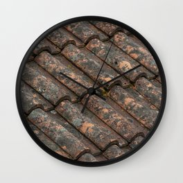 Old roof tiles vintage pattern Wall Clock