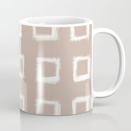 Square Stroke Dots White on Nude Coffee Mug