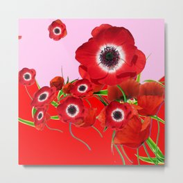 RED TIDE OF RED SPRING ANEMONE  GARDEN  FLORAL Metal Print
