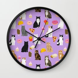 Cat breeds junk food pizza french fries food with cats gifts ice cream donuts Wall Clock