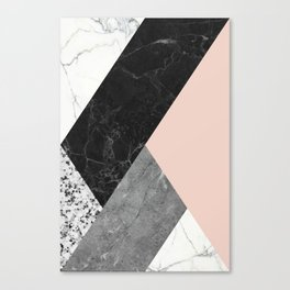 Black and White Marbles and Pantone Pale Dogwood Color Canvas Print