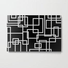 Geometric Cubic Line Pattern Black And White Metal Print