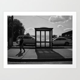 Lady At Bus Stop Art Print