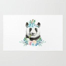 Watercolor Floral Spray Boho Panda Rug