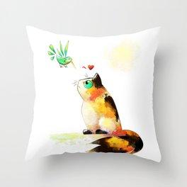 The cat and the hummingbird Throw Pillow