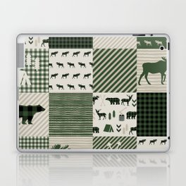 Camping hunter green plaid quilt cheater quilt baby nursery cute pattern bear moose cabin life Laptop & iPad Skin