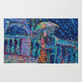 """Lovers in Rainy Paris"" - Palett knife figurative city landscape by Adriana Dziuba Rug"