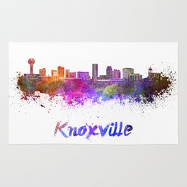 Knoxville skyline in watercolor Rug
