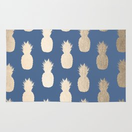 Gold Pineapples on Aegean Blue Rug