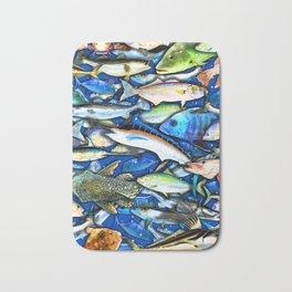 DEEP SALTWATER FISHING COLLAGE Bath Mat