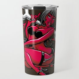 Devil Pin-Up Girl with Big Wrench Travel Mug