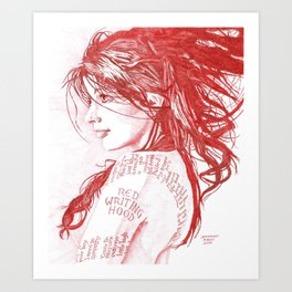 Red Writing Hood Art Print