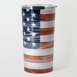 American Wooden Flag Travel Mug