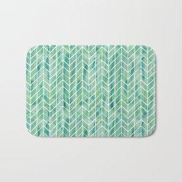 Caribbean green watercolor pattern Bath Mat