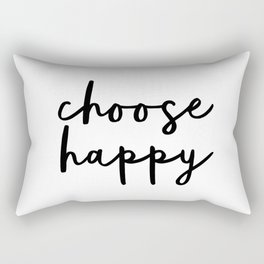 Choose Happy black and white contemporary minimalism typography design home wall decor bedroom Rectangular Pillow