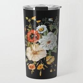 Wildflower Bouquet on Charcoal Travel Mug