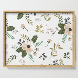 Winter floral - snowy blush petals Serving Tray