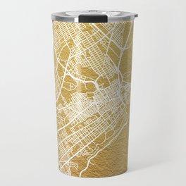 Gold Quebec map Travel Mug