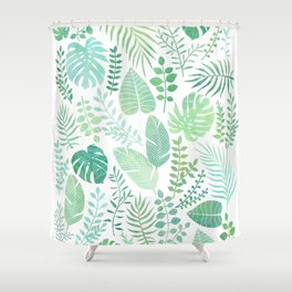 Green tropical leaves pattern Shower Curtain
