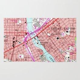 Vintage Map of Cedar Rapids Iowa (1967) Rug