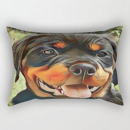 Chubby Rottweiler Puppy Rectangular Pillow