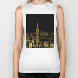 Abstract Gold City  Skyline Design Biker Tank