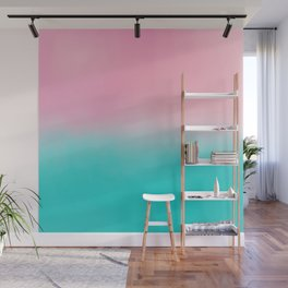 Artistic blush pink tropical turquoise watercolor ombre Wall Mural