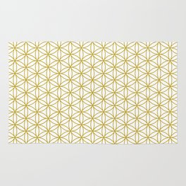 Flower of Life Pattern – Gold & White Rug
