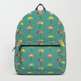 April Showers - Spring Rain Umbrella Pattern in Teal Backpack