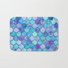 Colorful Blues Mermaid Scales Bath Mat