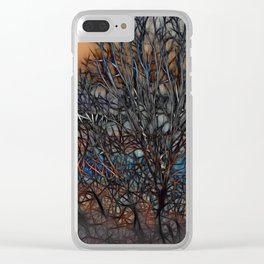 Abstract Sunset Tree Clear iPhone Case
