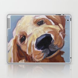 Golden Retriever Puppy Original Oil Painting Laptop & iPad Skin