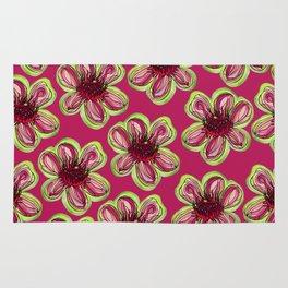 Geraldton Wax Flowers on dark pink Rug