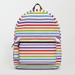 Modern artistic geometrical colorful violet orange green stripes Backpack