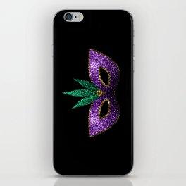 Mardi Gras Mask Purple Green Gold Sparkles iPhone Skin
