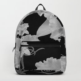 WHITE CATTLEYA ORCHIDS IN BLACK & WHITE ART Backpack