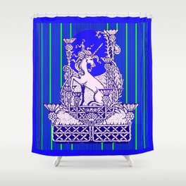 Blue Unicorn Thistle Abstract Design Shower Curtain